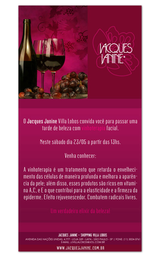 E-mail marketing Jacques Janine - Vinhoterapia
