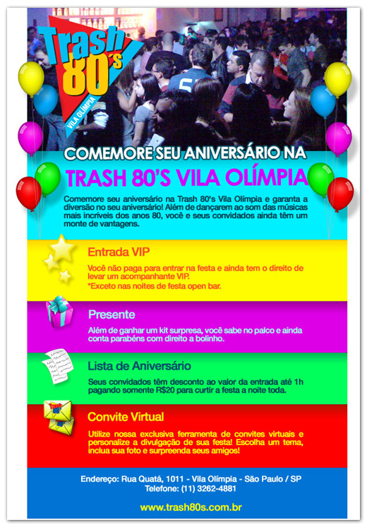 E-mail marketing de aniversário Thash' 80