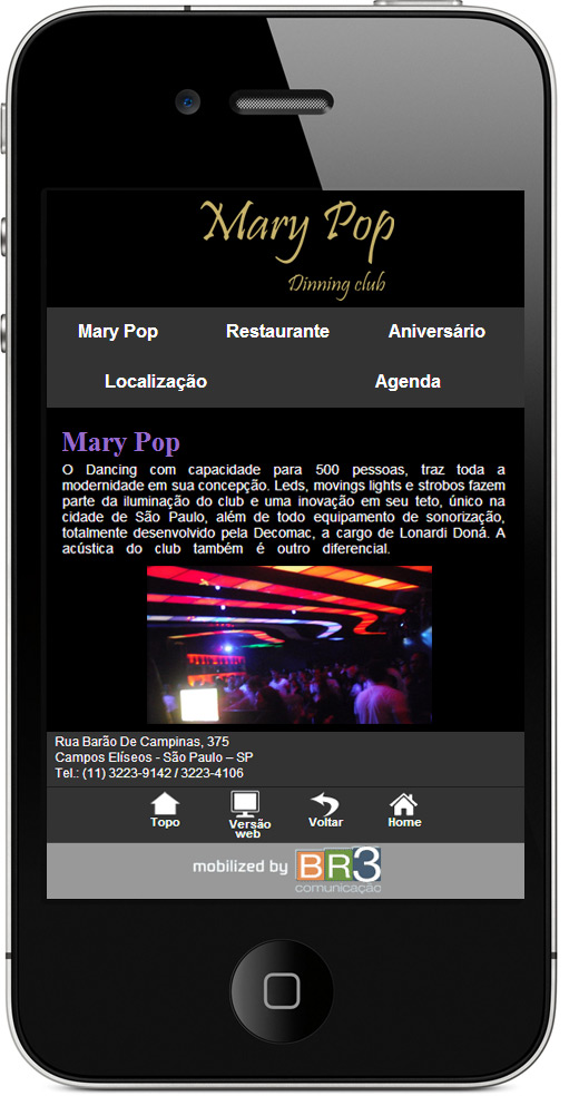Criação de site Mobile - Mary Pop Club