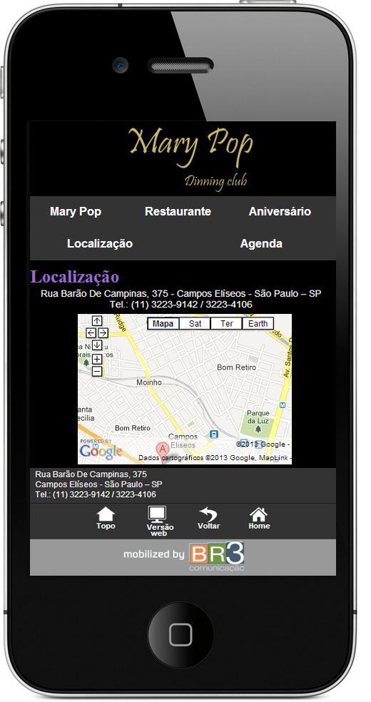 Criação de site Mobile - Mary Pop Club