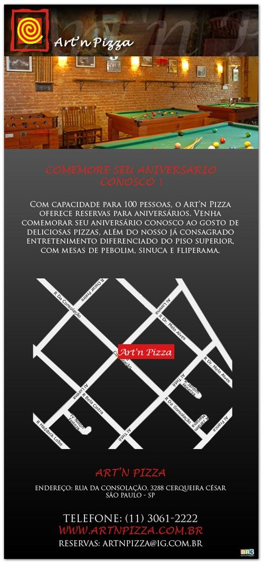 E-mail Marketing Aniversário Art´n Pizza