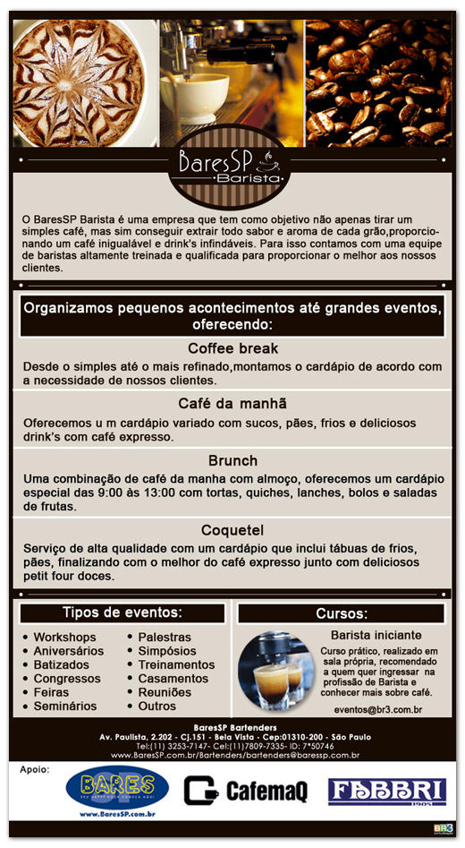 E-mail marketing institucional BaresSP Barista