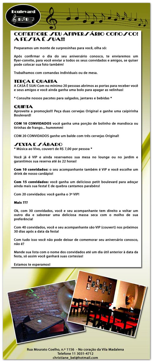 E-mail marketing de aniversário Boulevard