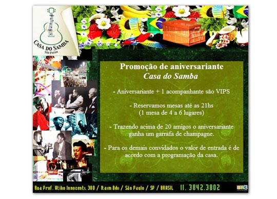 E-mail marketing de aniversário Casa do Samba