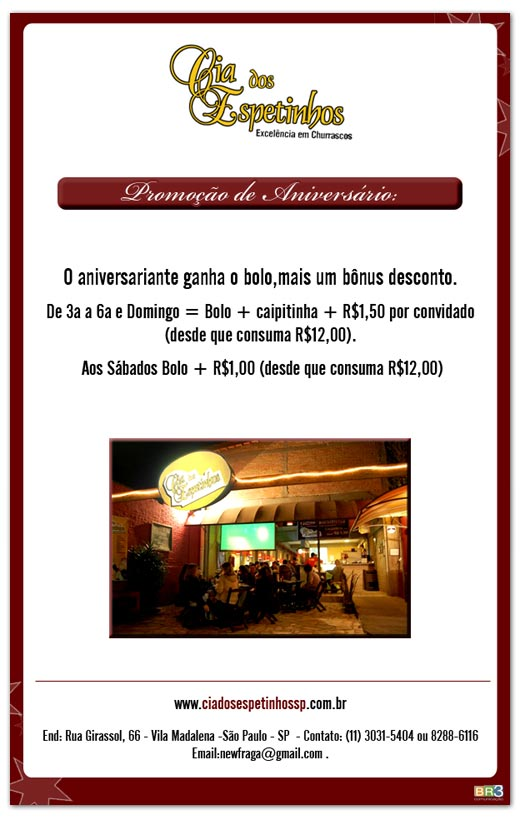 E-mail Marketing Cia. dos Espetinhos - Vila Madalena