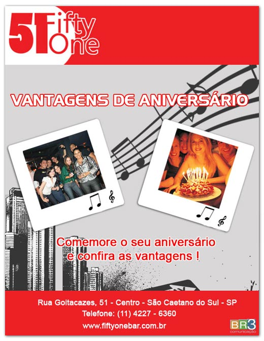E-mail marketing de aniversário Fifty One