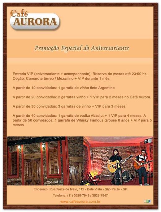 E-mail marketing de aniversário Café Aurora