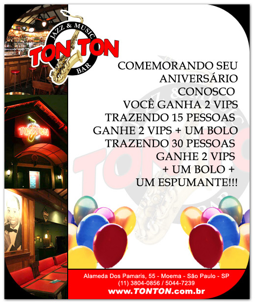 E-mail marketing de aniversário Ton Ton Jazz