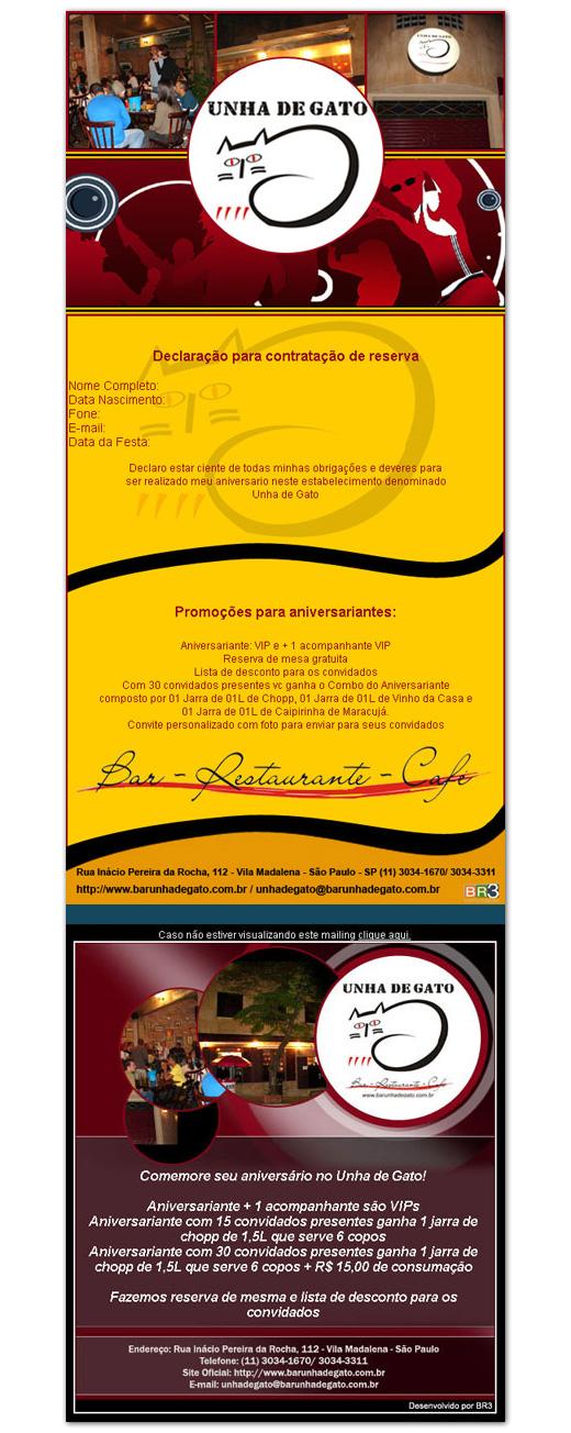 E-mail Marketing de Aniversário Unha de Gato