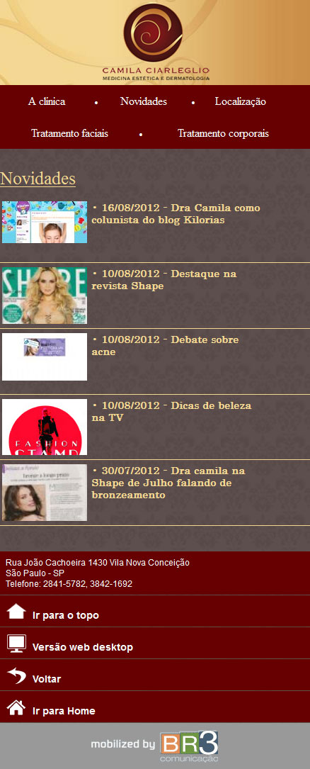 Mobile da Dra. Camila Ciarleglio Br3 Site sites cases image