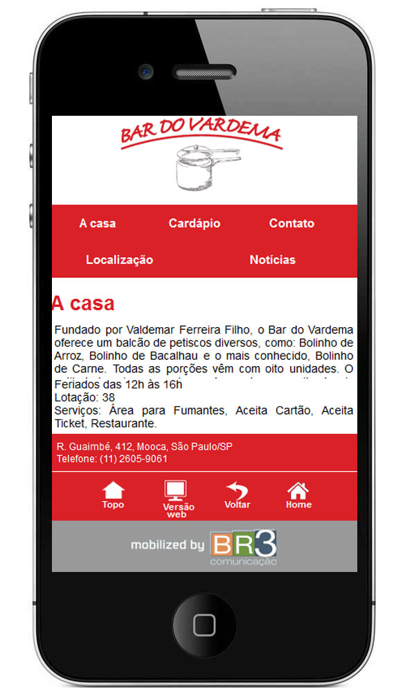 Site mobile do Vardema