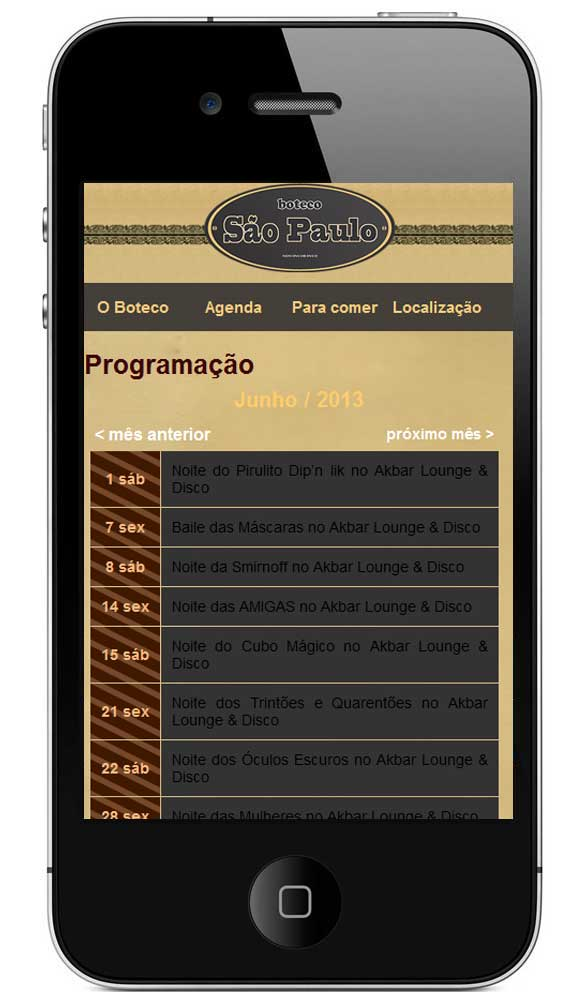 Site mobile do Boteco São Paulo