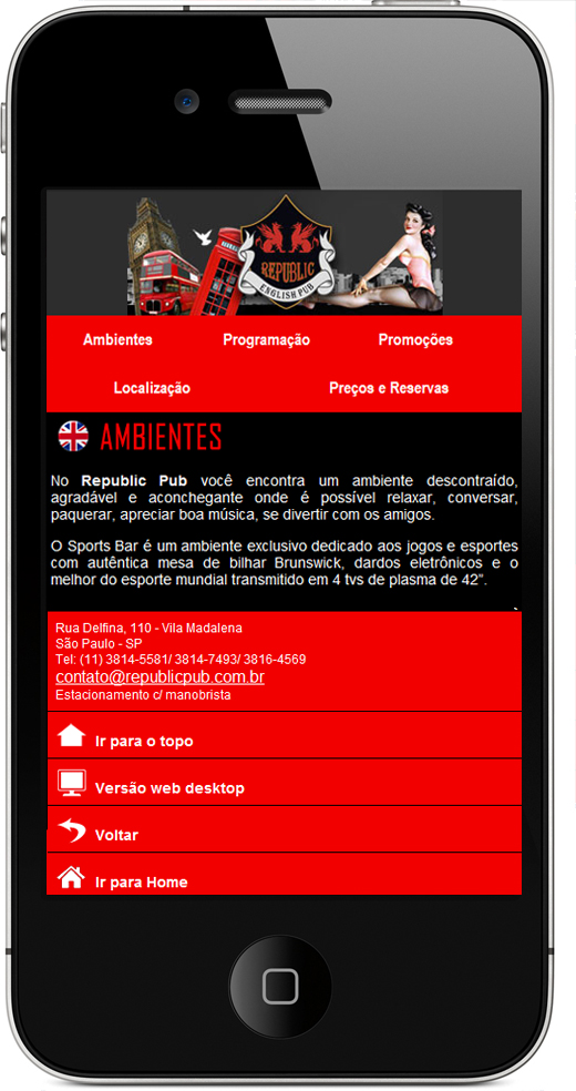 Site mobile Republic pub
