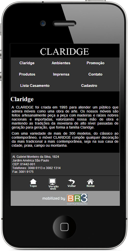 Site Mobile - Claridge