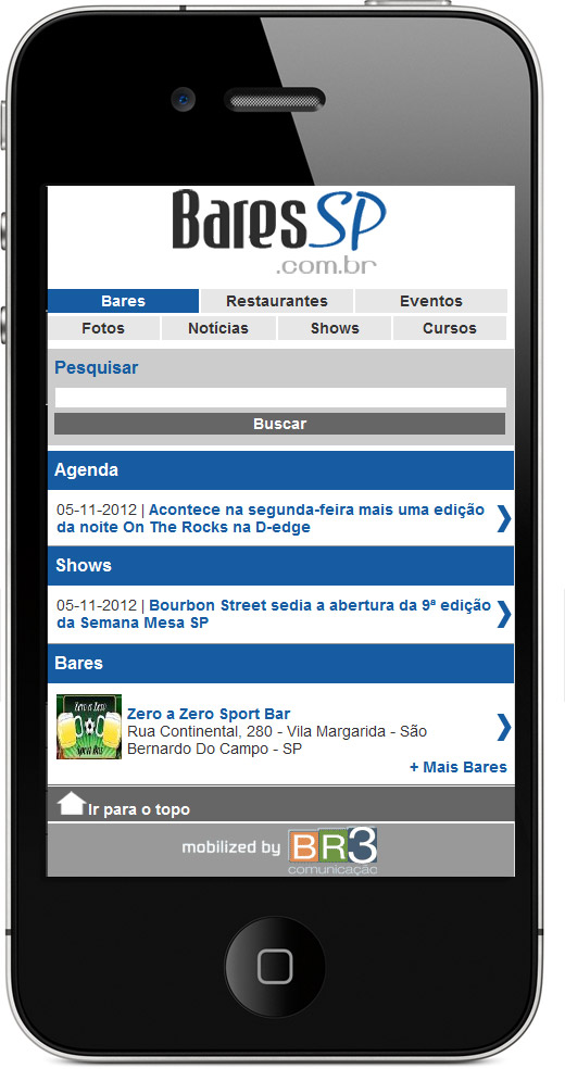 Site Mobile do BaresSP Br3 Site sites cases image