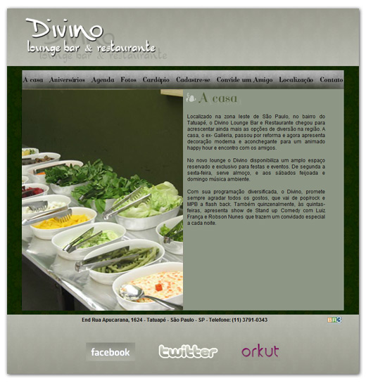 Site Divino Lounge Bar e Restaurante