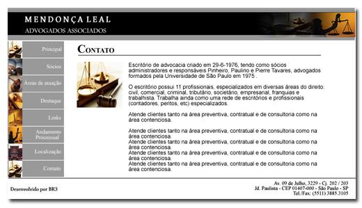 Site Mendoça Leal Advogados