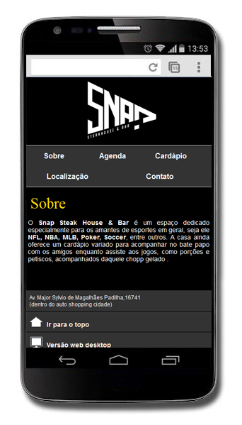 Site Mobile Snap bar steak house