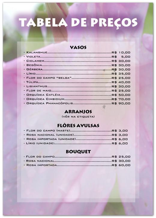 Tabela de preços Floricultura Emoções