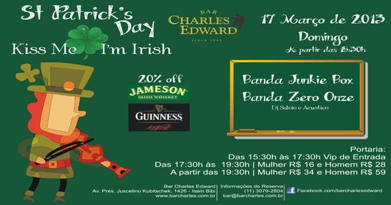 Bar Charles Edward prepara festa tradicional de St. Patrick Eventos BaresSP 570x300 imagem