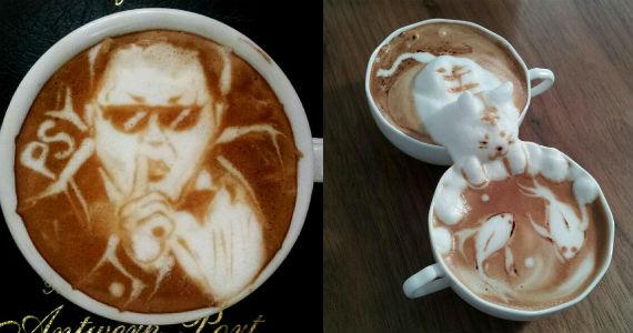 Com a espuma do leite, barista japonês faz Latte Art em 3D Eventos BaresSP 570x300 imagem