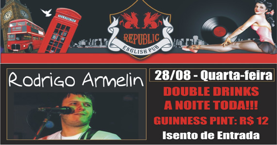 Rodrigo Armelin se apresenta no palco do Republic Pub na quarta-feira Eventos BaresSP 570x300 imagem