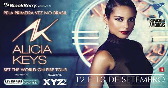 Princesa do Soul, Alicia Keys, apresenta turnê Set The World on Fire no Espaço das Américas Eventos BaresSP 570x300 imagem