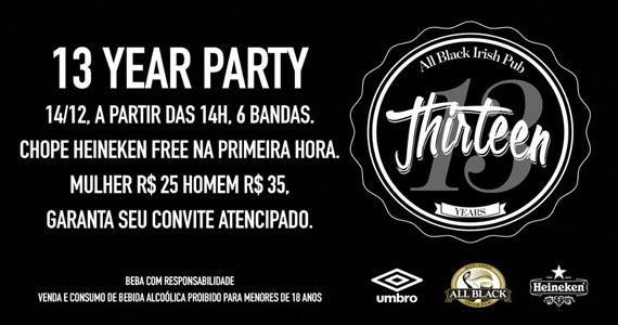 All Black comemora 13 anos com bandas de rock e chope Heineken neste domingo Eventos BaresSP 570x300 imagem