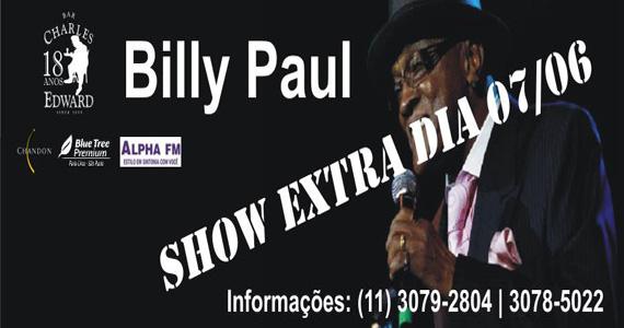Cantor Billy Paul faz apresentação extra neste sábado no Bar Charles Edward Eventos BaresSP 570x300 imagem