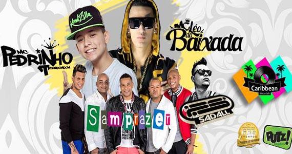 Grupo Samprazer, MC Pedrinho e Léo da Baixada no palco do Caribbean Disco Club na terça-feira Eventos BaresSP 570x300 imagem