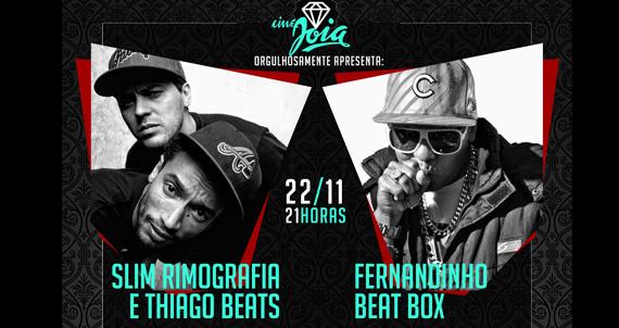 Shows de Fernandinho Beat Box e Slim Rimografia & Thiago Beat no Cine Joia Eventos BaresSP 570x300 imagem