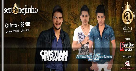 Projeto Sertanejinho com Cristian Fernandes e Leandro & Gustavo no Club A São Paulo Eventos BaresSP 570x300 imagem