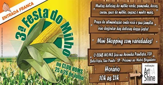 Club Homs realiza a 3ª Festa do Milho com uma diversidade de pratos  Eventos BaresSP 570x300 imagem