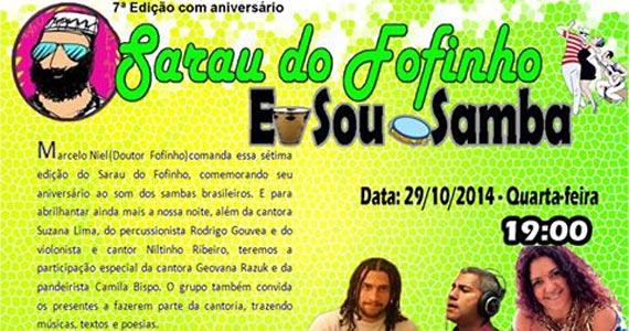 Sarau do Fofinho com muito samba nesta quarta-feira no Umbabarauma Bar Eventos BaresSP 570x300 imagem