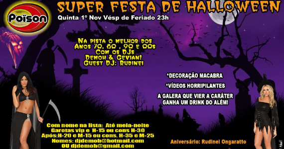 Véspera de feriado com festa Super Halloween no Poïson Bar e Balada Eventos BaresSP 570x300 imagem