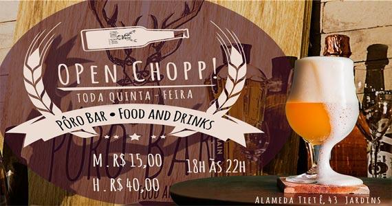 Pôro Bar- Food and Drinks oferece o Open Chopp Litro às Quintas Feiras no Happy Hour Eventos BaresSP 570x300 imagem