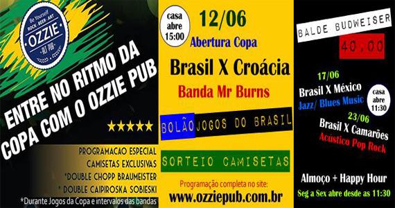 Jogo do Brasil com muito pop rock e sorteio de camisetas no Ozzie Pub Eventos BaresSP 570x300 imagem