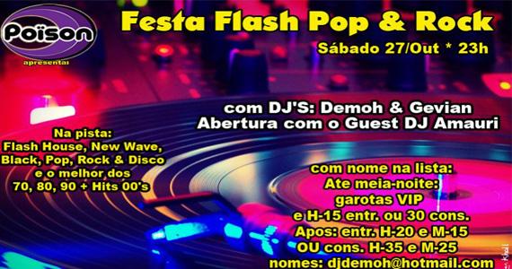 Festa Flash Pop & Rock na pista do Poison Bar e Balada  Eventos BaresSP 570x300 imagem