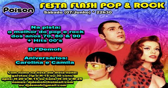 Festa Flash Pop e Rock com DJ Demoh agitando o sábado no Poison Bar e Balada Eventos BaresSP 570x300 imagem