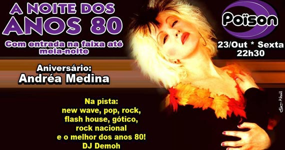 Noite dos Anos 80 com muito flash back com DJ Demoh no Poison Bar e Balada Eventos BaresSP 570x300 imagem