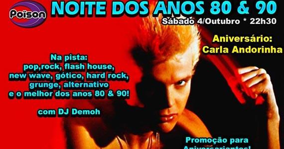 Noite dos anos 80 e 90 com DJ Demoh animando a noite de sábado do Poison Bar e Balada Eventos BaresSP 570x300 imagem