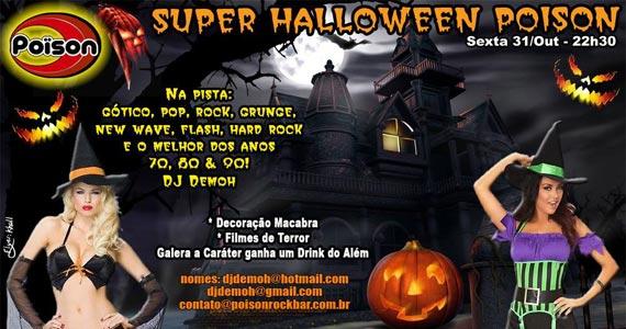 Super Halloween com decoração e filmes de terror no Poison Bar e Balada Eventos BaresSP 570x300 imagem