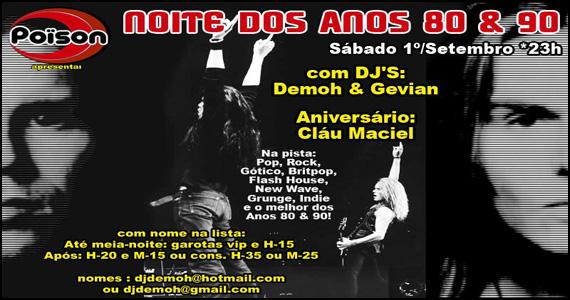 Festa anos 80 e 90 na noite de sábado no Poison Bar e Balada Eventos BaresSP 570x300 imagem