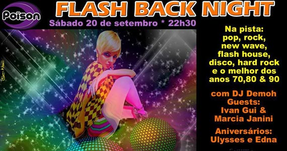 Flash Back Night com DJs convidados animando o sábado do Poison Bar e Balada Eventos BaresSP 570x300 imagem