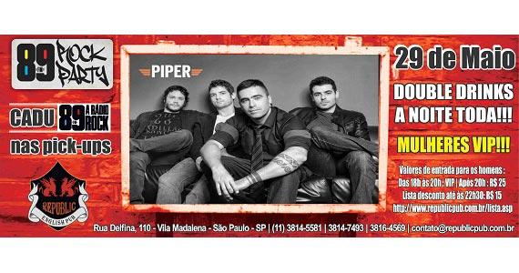 Apresentação da banda Piper no palco do Republic Pub - 89 Rock Party - Rota do Rock Eventos BaresSP 570x300 imagem
