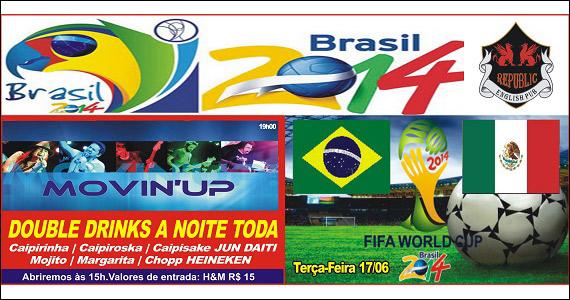 Banda Movin'UP se apresenta no palco do Republic Pub - Jogo Brasil x México Eventos BaresSP 570x300 imagem