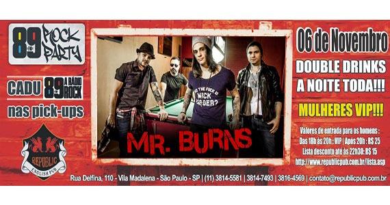 Banda Mr. Burns e DJ Cadu da 89 FM animando a noite de quinta-feira no Republic Pub Eventos BaresSP 570x300 imagem