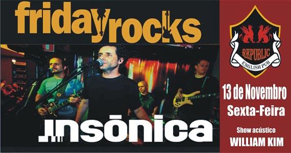 Banda Insônica e William Kim comandam a sexta-feira com pop rock no Republic Pub Eventos BaresSP 570x300 imagem