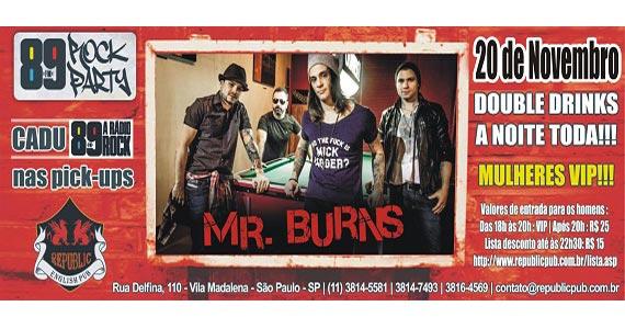 Banda Mr. Burns e DJ Cadu animam a noite de quinta-feira no Republic Pub Eventos BaresSP 570x300 imagem
