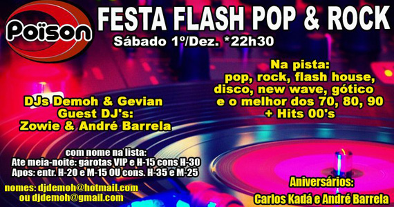 Festa Flash Pop & Rock no sábado do Poïson Bar e Balada Eventos BaresSP 570x300 imagem